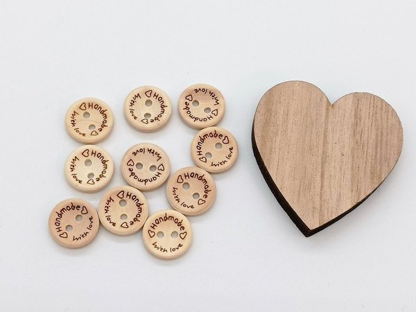 "Holzknopf ""Handmade with Love"" 15mm 10er Set"